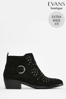 Evans Extra Wide Fit Black Western Style Ankle Boots