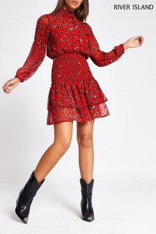 River Island Red Print Wallis Sheered Waist Mini Dress