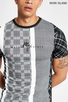 River Island Black Check Blocked All Over Print T-Shirt