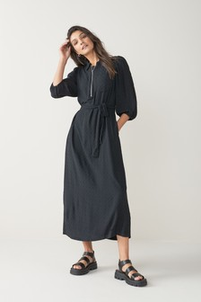 Zipped Midi Shirt Dress
