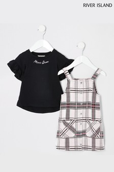 River Island Pink Check Pinny With Black Necklace T-Shirt