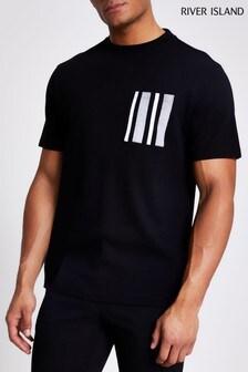 חולצה שחורה עם כיס בדוגמת זיגזג של River Island