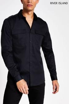 River Island Black Long Sleeve Utility Smart Shirt