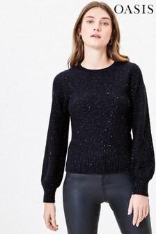Oasis Blue Sequin Knit Jumper
