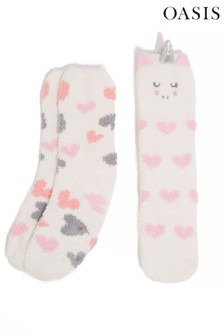 Oasis Natural Unicorn Cosy Socks Two Pack