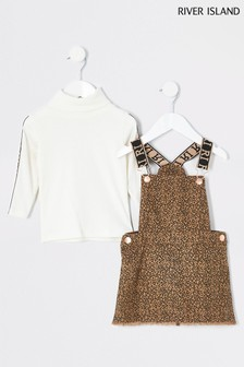 River Island Brown Printed Animal Denim Pinny Tape T-Shirt