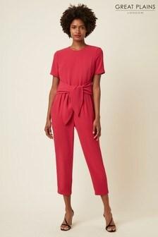 Great Plains Pink Soho Drape Short Sleeve Tie Waist Jumpsuit