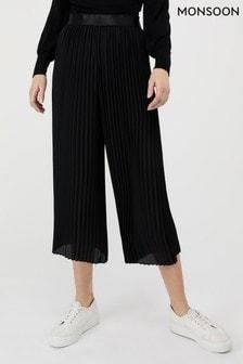 Monsoon Black Phoebe Pleated Crop Trousers