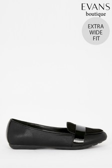 Evans Extra Wide Fit Black Loafers