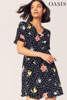 Oasis Black Avery Floral Spot Dress