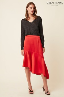 Great Plains Red Claude Satin Midi Skirt