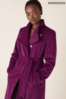 Monsoon Purple Rita Wrap Collar Long Coat