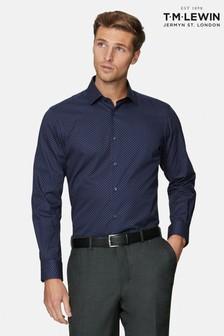T.M. Lewin Navy/Red Mini Dash Print Slim Fit Shirt