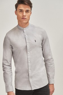 Stretch Oxford Grandad Collar Shirt