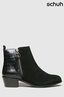 Schuh Black Cara Suede Side Zip Boots