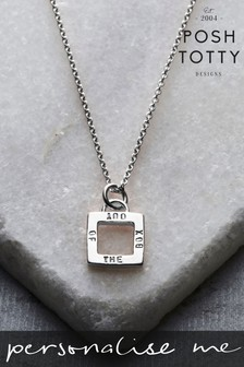 Personalised Geometric Square Charm Necklace by Posh Totty Designs