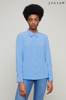 Jigsaw Blue Silk Shirt