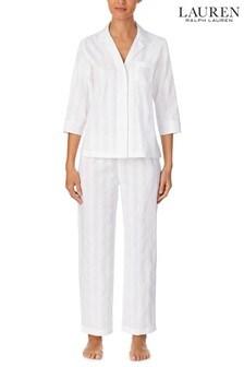 Lauren Ralph Lauren Shadow Stripe 3/4 Sleeve, Ankle Pant, Notch Collar Pyjama Set