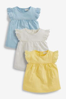 3 Pack Broderie Frill T-Shirts (0mths-3yrs)