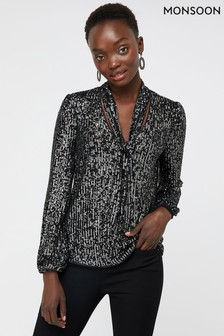 Monsoon Black Dani Sequin Tie Blouse