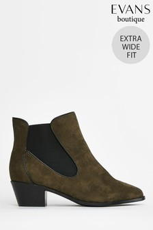 Evans Extra Wide Fit Khaki Curved Side Ankle Boots