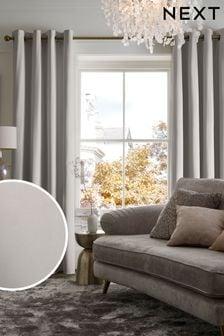Matte Velvet Eyelet Lined Curtains