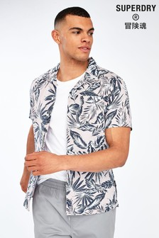 Superdry Pink Palm Short Sleeve Shirt