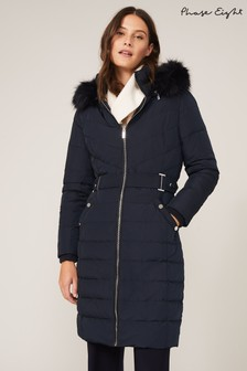 Phase Eight Blue Elouise Long Belted Padded Coat