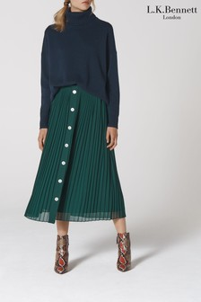L.K.Bennett Green Fozette Pleated Midi Skirt