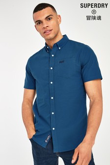 Superdry Denim Blue Classic University Oxford Short Sleeve Shirt