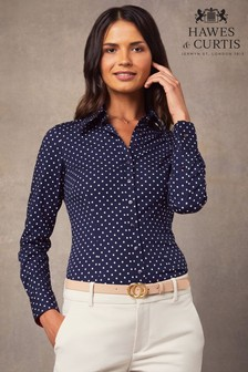 Hawes And Curtis Navy Spot Fitted Shirt