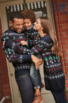 Men's Matching Family Pattern Wrapping Crew Neck Jumper