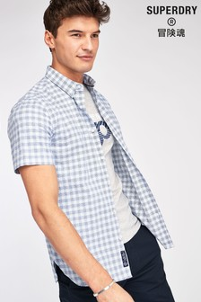 Superdry Blue Checked Short Sleeve Shirt