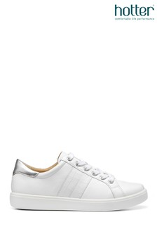 Hotter White Switch Slim Fit Lace-Up Deck Shoes