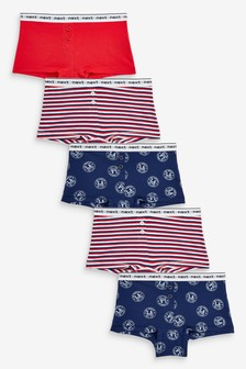 5 Pack Slogan Stripe Boxers (2-16yrs)