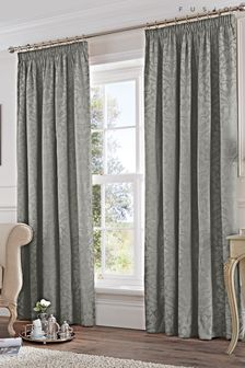 Eastbourne Damask Jacquard Lined Pencil Pleat Curtains by Fusion