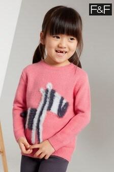 F&F Pink Knitted Zebra Jumper