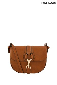 Monsoon Tan Emily Equestrian Cross Body Bag