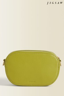 Jigsaw Green Otto Micro Leather Cross Body Bag