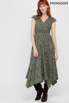 Monsoon Ladies Green Tina Jersey Print Dress