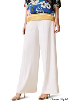 Phase Eight White Santita Wide Leg Trousers