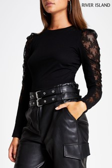 River Island Black Long Sleeve Lace Mix Sleeve Top