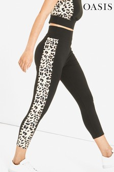 Oasis Animal Leopard Insert Capri Leggings
