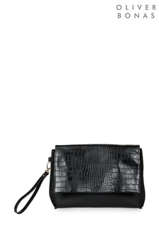 Oliver Bonas Black Croc Panel Clutch Bag