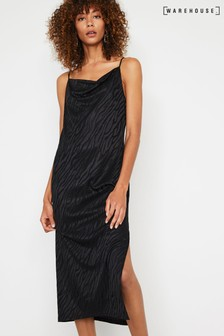 Warehouse Black Tiger Jacquard Midi Cami Dress