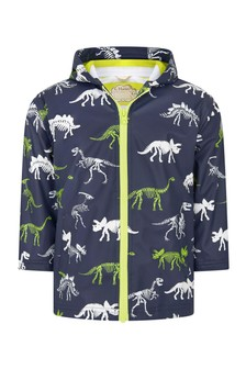 Hatley Kids & Baby Hatley Boys Blue Dino Fossils Colour Changing Splash Jacket