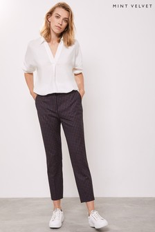 Mint Velvet Blue Check Tapered Trousers