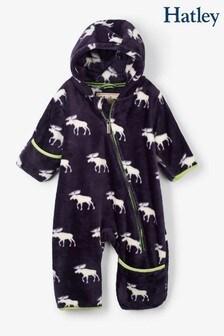 Hatley Blue Moose Silhouettes Fuzzy Fleece Baby Bundler