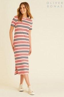 Oliver Bonas Pink Stripe T-Shirt Dress