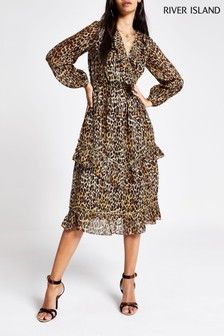 River Island Gold Print Dress